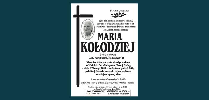 W dniu 25 lutego zmarła w wieku 88 lat Maria Kołodziej z ulicy Św. Katarzyny w Nowej Białej. Pogrzeb 27 lutego o godz. 15.