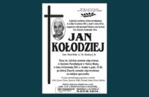 W dniu 11 kwietnia zmarł w wieku 84 lat Jan Kołodziej z ulicy Św. Katarzyny w Nowej Białej. Pogrzeb 15 kwietnia o godz. 15.